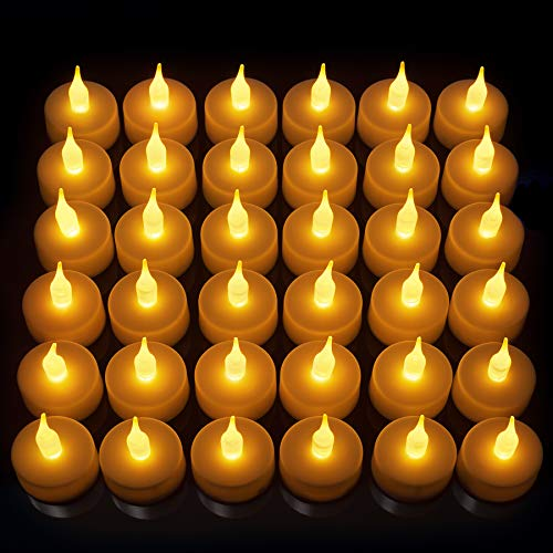 36 Pack LED Tea Light Candles, Gorgeous Flickering Flameless Candles, Super Long Life Battery Powered, Bright Unscented Tealights, Warm Glow, LED Candles, Perfect for Weddings, Halloween & More