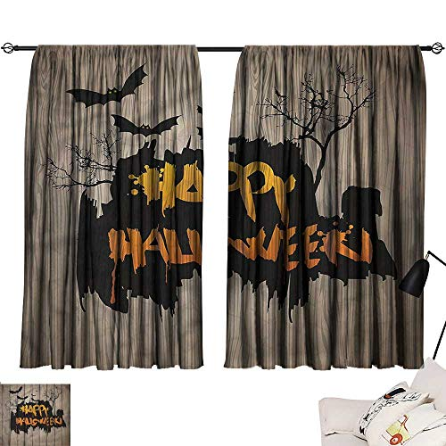 Grommet Curtains Halloween,Quote Bats Art 72