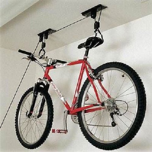 BICYCLE LIFT STORAGE RACK HOLDER PULLEY HOIST BIKE LIFT CYCLE BASEMENT...