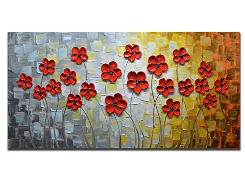 Cottage Framed Picture Art Decor (Asdam Art –Red Daisy Painting 3D Flower Oil Paintings Abstract Art Landscape Artwork 100% Hand painted Pictures Wall Art (24X48 inch))