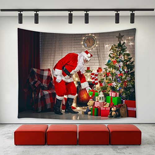 LBKT Xmas Merry Christmas Day Santa Claus Tapestry Wall Hanging Christmas Eve Fireplace Christmas Tree Gifts Presents Father Christmas Uniform Hat Wall Tapestry for Christmas Decoration Decor 90