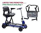 Drive ZooMe Flex Ultra Compact Folding Travel 4 Wheel Scooter, Blue & FREE Medical Utility Bag Gray! - #FLEX