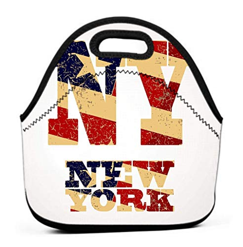 Printing Lunch Bags, Oxford Cloth Insulated Cooler Bag Portable Takeaway vintage lettering ny new york flag usa united states typography