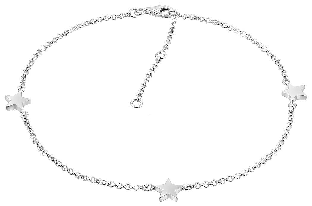 Longitud 23-27 cm Nenalina 381008-000 Tobillera de Plata con 3 Colgantes de Estrella Pulsera Ajustable para Mujer y ni/ña Plata de Ley 925