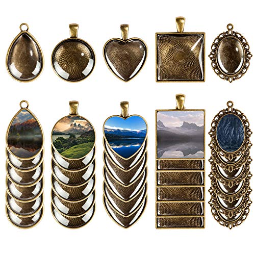 Mmei 60Pcs 5 Styles Pendant Trays 30Pcs Round & Square & Heart & Teardrop & Oval and 30Pcs Bright Glass Cabochon Dome Tiles for Crafting DIY Jewelry Gift Making (Bronze)