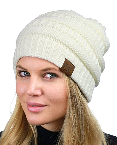 C.C Unisex Chunky Soft Stretch Cable Knit Warm Fuzzy Lined Skully Beanie, Ivory