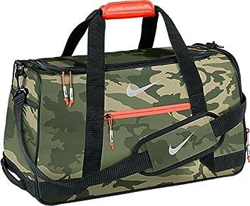 Nike Sport Duffel III Gym Bag MD Olive Silver Bright Crimson Camo