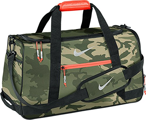 Nike Sport Duffel III Gym Bag, MD Olive/Silver/Bright Crimson Camo
