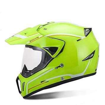 MLL Casco de Motocross de Competición, Casco de Protección Total para Hombre con Personalidad de Invierno, Cuatro Temporadas de Cara Completa,Verde,UNA: ...