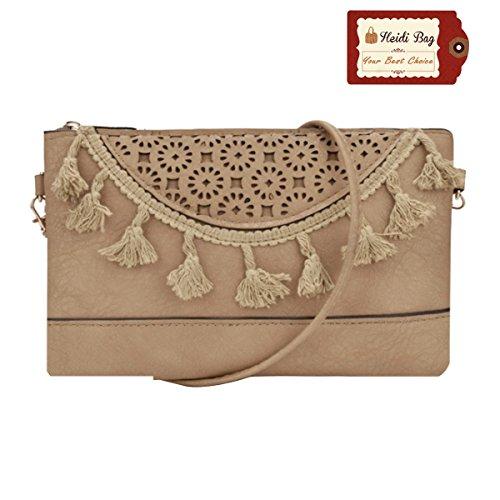 Heidi Bag Women Leather Envelope Satchel Small Chic Crossbody Handbag with Tassels (Envelope Style Convertible Clutch)