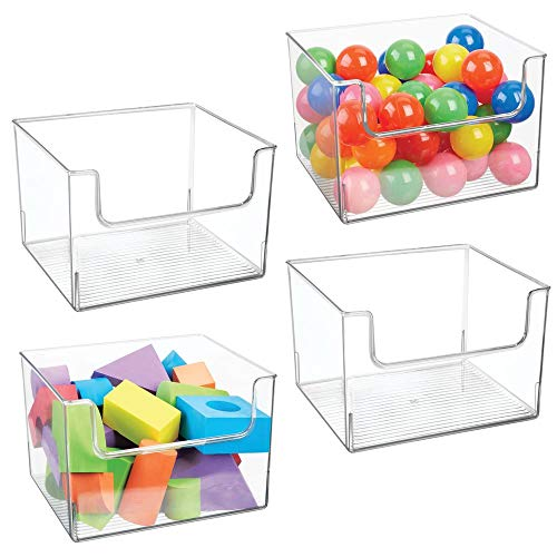 mDesign Plastic Open Front Deep Home Storage Bin for Storing and Organizing Office, Entryway, Closet, Cabinet, Bedroom, Laundry Room, Nursery - 4 Pack - Clear