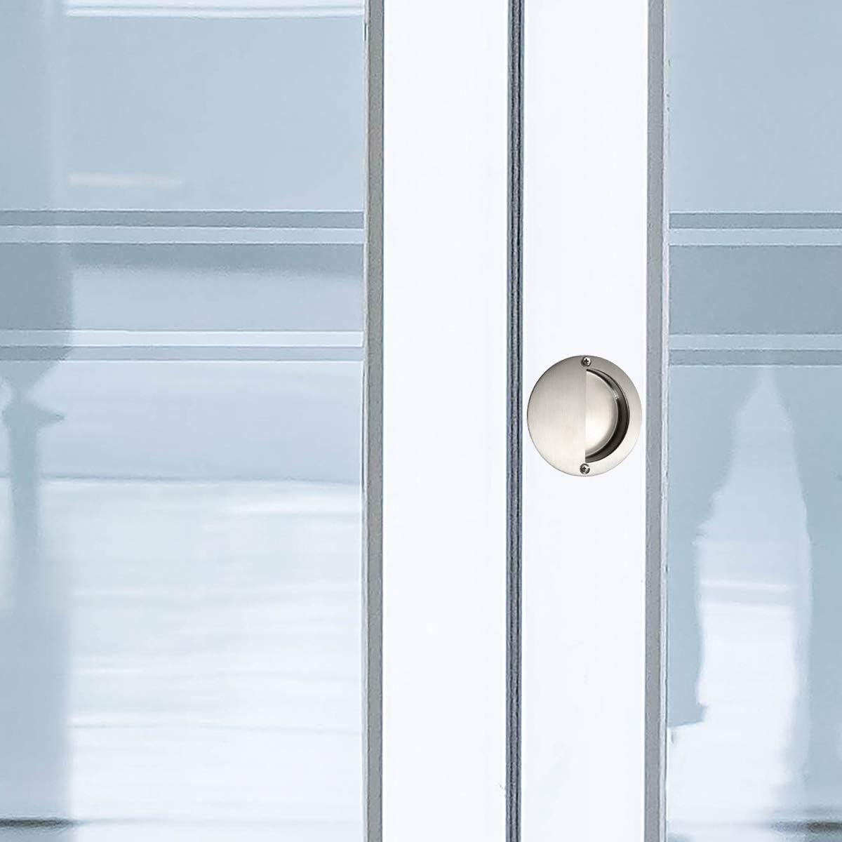 JJOnlineStore - 1x [acier inoxydable] acier recouvert de rond [poignée de porte], 6,5 cm (diamètre) x1 cm (profondeur): Amazon.es: Bricolaje y herramientas