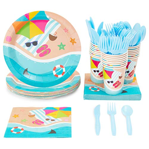 Disposable Dinnerware Set - Serves 24 - Summer Beach Party Supplies, Includes Plastic Knives, Spoons, Forks, Paper Plates, Napkins, Cups