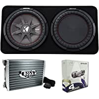 Kicker 43TCWRT124 1000W 12 4-Ohm Slim Shallow Subwoofer+Box+Amplifier+Amp Kit