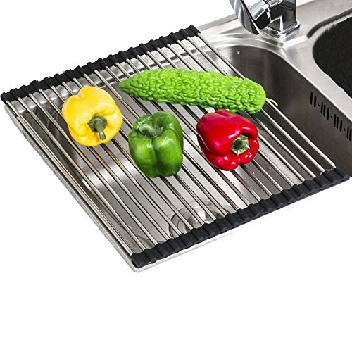 """VANRA Foldable Roll up Dish Drying Rack Stainless Steel Over-the-Sink Colander Dish Drainer Tray (Black, 17.7""""L x 9.5""""W)"""