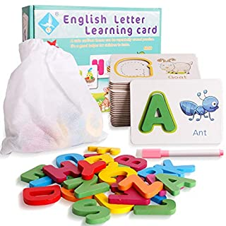 Alphabet ABC Jigsaw Puzzle Flash Cards with Wipe Clean Marker Dry Erase Writing Letters Educational Toys Preschool Teaching Aids 3 Years Old and Up