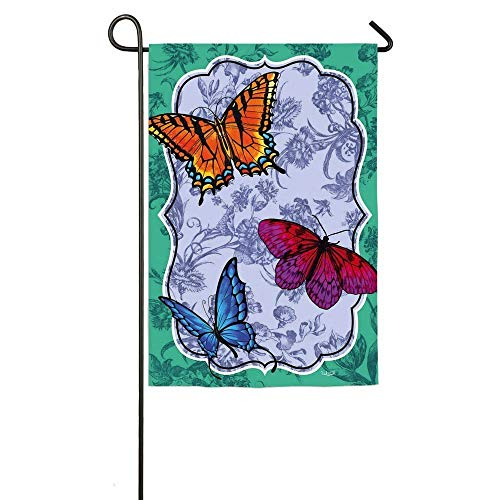 (HOOSUNFlagrbfa Butterfly Toile Garden Flag 12 Inch X 18 Inch)