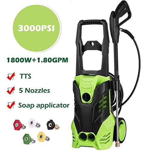 Cheap Homdox High Pressure Power Washer 3000 PSI Electric Pressure Washer,1800W Rolling Wheels High Pressure Professional Washer Cleaner Machine+ (5) Nozzle Adapter