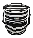 Yarn Organizer Bag for Knitting and Crochet, Storage Tote for Projects and Yarn with Removable Divider, Black and White Stripes