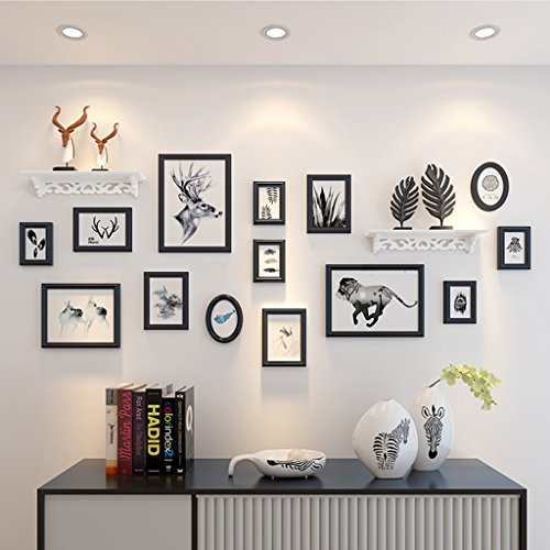 Home@Wall photo frame Wood 14 Pcs/sets Collage Photo Frame Set,Vintage Picture Frames,Family Picture Frame Wall,Wedding Photo Frames DIY Photo Frame Sets For Wall ( Color : A ) by ZGP