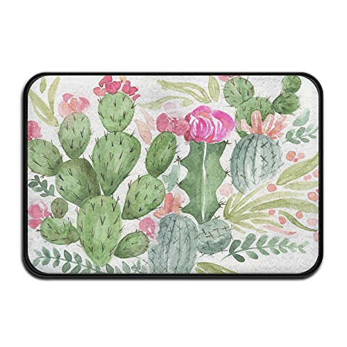 - HOMESTORES 17x24 Inch Memory Foam Bath Mat Non Slip Absorbent Super Cozy Velvet Bathroom Entrance Rug Carpet - Natural Bouquet In Boho Style Cactus Succulent Flowers Twigs