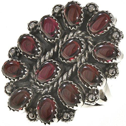 Navajo Garnet Petit Point Ring Silver Old Pawn Cluster Design ()
