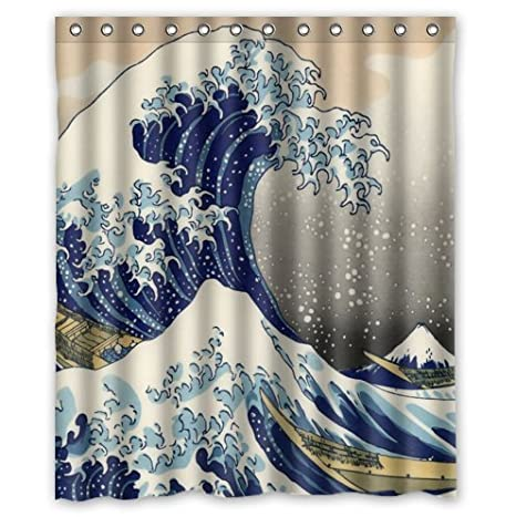 Classic Japanese The Great Wave Off Kanagawa Pattern Decor 100 Polyester Shower Curtain 60quot