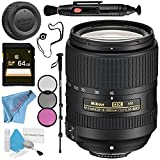 Nikon AF-S DX NIKKOR 18-300mm f/3.5-6.3G ED VR Lens + 67mm 3 Piece Filter Kit + 64GB SDXC Card + Lens Pen Cleaner + Fibercloth + Lens Capkeeper + 70in Monopod + Deluxe Cleaning Kit Bundle