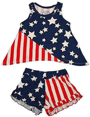 Sara's Prints - Little Girls's Tank Shorty Pajama, Red, White, Blue 35337-7 Red Shorty Pajamas