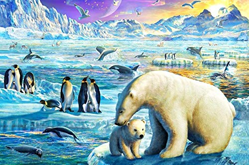 WDSDFEP Jigsaw Puzzles 1000 Pieces Adults Children Kids Wooden Polar Bear Love The Children's Educational Toys