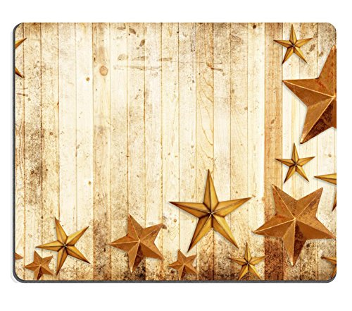 MSD Natural Rubber Gaming Mousepad Christmas stars on a weathered country wooden background IMAGE 11227037