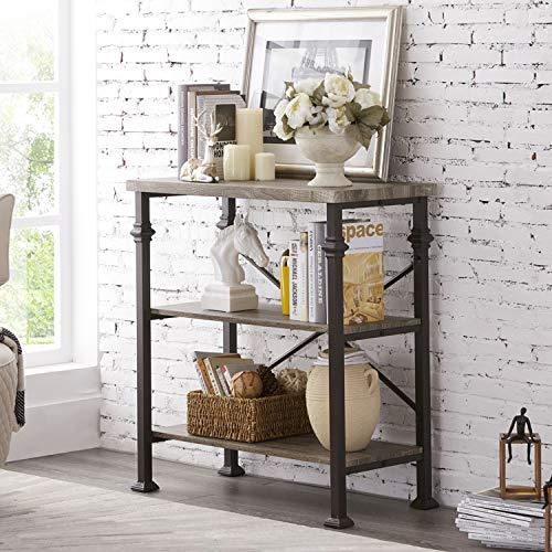 (Hombazaar 3-Tier Bookshelf, Rustic Industrial Style Bookcase Furniture, Free Standing Storage Shelves for Living Room Bedroom and Kitchen, Grey Oak )
