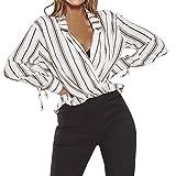 ❤️ Striped Shirt, Clearance Women Ladies Bow Stripe T-Shirt Sleeve Casual Top Blouse Women's Striped Long-Sleeved Top Duseedik