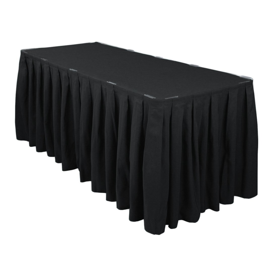 LinenTablecloth 17 ft Accordion Pleat Polyester Table Skirt Black