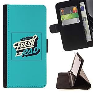 Momo Phone Case / Flip Funda de Cuero Case Cover - Fresco cartel Rad Verde Vintage Retro - LG G4