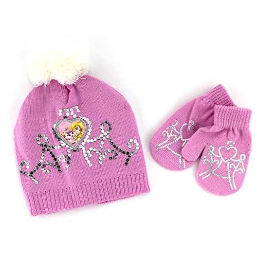 [Disney Nickelodeon Toddler Girls Hat and Mittens Set (Pink Aurora & Beauty)] (Toddler And Girls Aurora Princess Costumes)