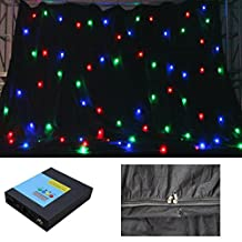 YISCOR 4m x 4m RGB 3in1 LED DMX512 Star Curtain Backdrop FULL COLOR Stage DJ Party Fireproof for Wedding Xmas Christmas Birthday Home Garden Party Effect