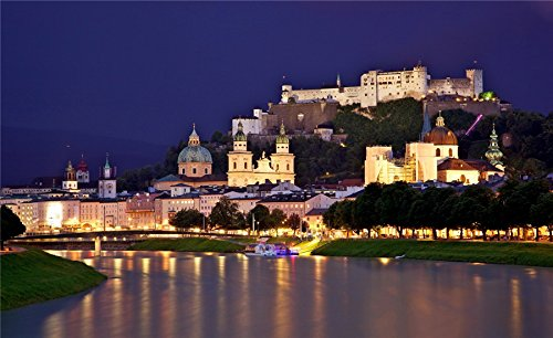 (Austria Houses Castles Rivers Night Salzburg Cities travel sites Postcard Post card)