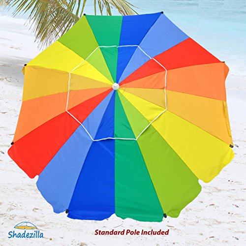 8 ft Heavy Duty Beach Umbrellas UPF100+ Fiberglass Ribs , Tilt, Hanging Hook (Duty Wind Beach Heavy Umbrella Resistant)