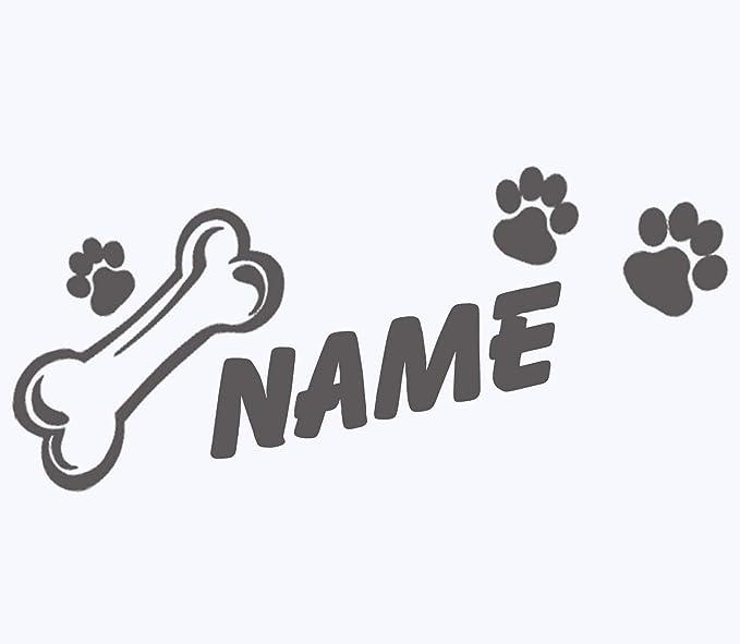 Topdesignshop Hunde Pfoten Aufkleber Mit Wunschnamen Hundeaufkleber Knochen Tatzen Hund Auto Sticker Mit Namen Gestalten Haustier