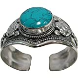Padma Craft Tibetan Vintage Turquoise Gemstone Adjustable Silver-Tone Unisex Cuff Bracelet