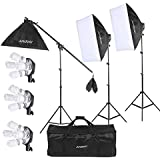 Andoer Studio Photo/Video Softbox Lighting Kit with 12pcs 45W 5500K Bulb 3pcs 4in1 Bulb Socket 3pcs Softbox 3pcs 200cm Light Stand and 55inch Cantilever Stick+ Carrying Bag