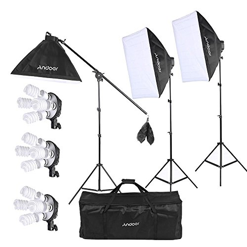Andoer Studio Photo/ Video Softbox Lighting Kit with 12pcs 45W 5500K Bulb 3pcs 4in1 Bulb Socket 3pcs Softbox 3pcs 200cm Light Stand and 55inch Cantilever Stick+ Carrying Bag from Andoer