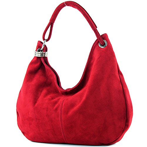 Italian handbag shoulder bag shopper Women's bag real suede leather bag T02, Color:Dark red