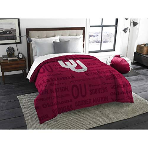 1 Piece NCAA Sooners Comforter Twin/ Full, Red White Multi Sports Patterned, College Football Themed Bedding, Team Logo Fan Merchandise Athletic Team Spirit Fan, Polyester, For Unisex (Full Comforter Oklahoma Sooners)