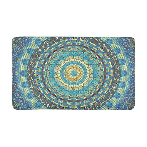 InterestPrint Round Mosaic Art Pattern of Different Tile Doormat Non-Slip Indoor and Outdoor Door Mat Home Decor, Entrance Rug Floor Mats Rubber Backing, Large 30