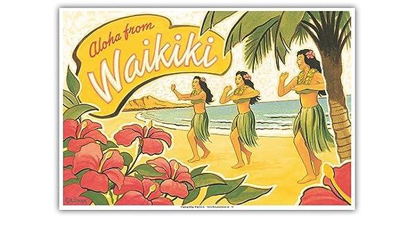 Pacifica Island Art Aloha de Waikiki-Hawaii Hula-Vintage ...