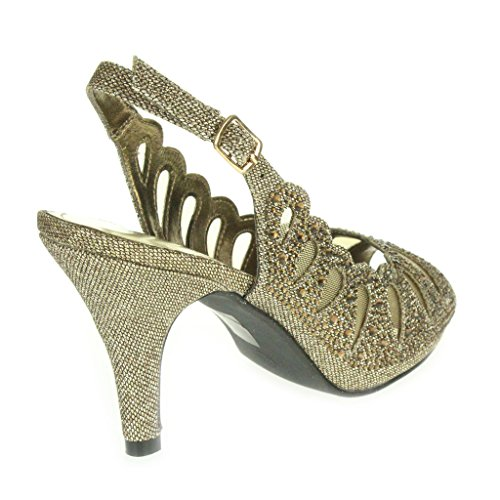 Mujer Señoras Corte con laser Diamante Peep Toe Tacón medio Noche Boda Fiesta Paseo Sandalias Zapatos Talla Marrón