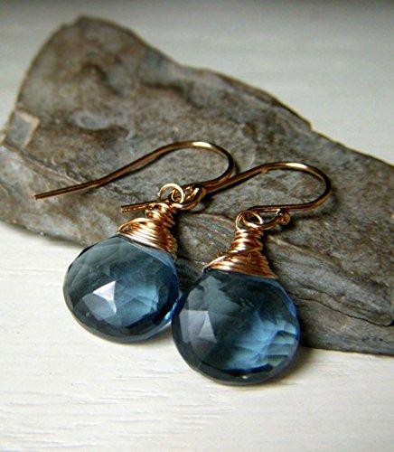 London Blue Quartz Earrings, Short Gold Filled, Wirewrapped Gemstone, Faceted Teardrop Briolette