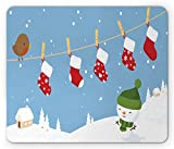 Ambesonne Christmas Mouse Pad, Little Bird and Socks Hanging on Clothesline Snowy Kids Children Cartoon Print, Standard Size Rectangle Non-Slip Rubber Mousepad, White Blue